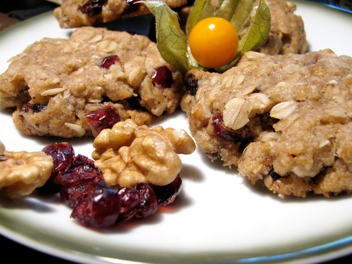 Vegan Oatmeal Cranberry Walnut Cookies - The Lotus and the Artichoke