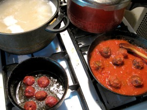 Spaghetti and Vegan Notmeatballs - Process 1