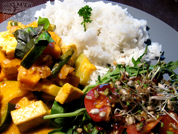 African Red Curry with coconut and tofu - The Lotus and the Artichoke - Vegan cookbook