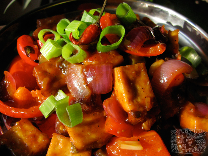 Chilli Tofu-Paneer : Indo-Chinese - The Lotus and the Artichoke vegan cookbook