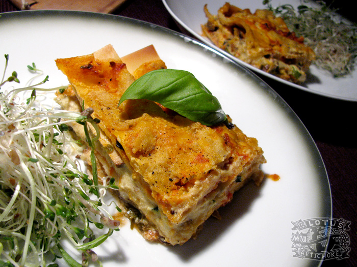 Zucchini Lasagna with smoked tofu and mushrooms - The Lotus and the Artichoke vegan cookbook