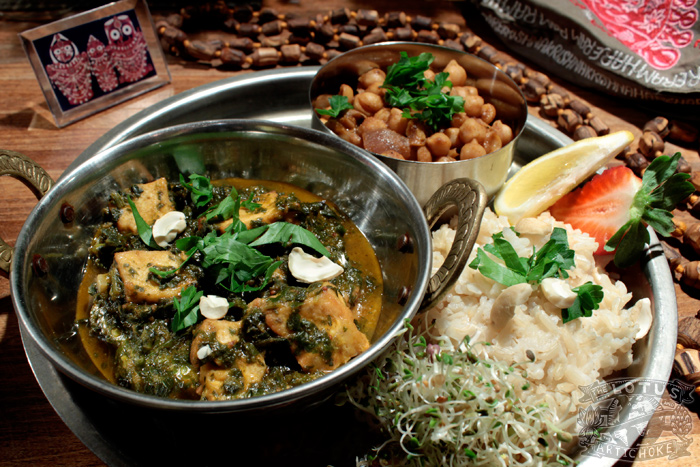 Palak Tofu-Paneer - Vegan Recipe: North Indian Spinach Curry - The Lotus and the Artichoke