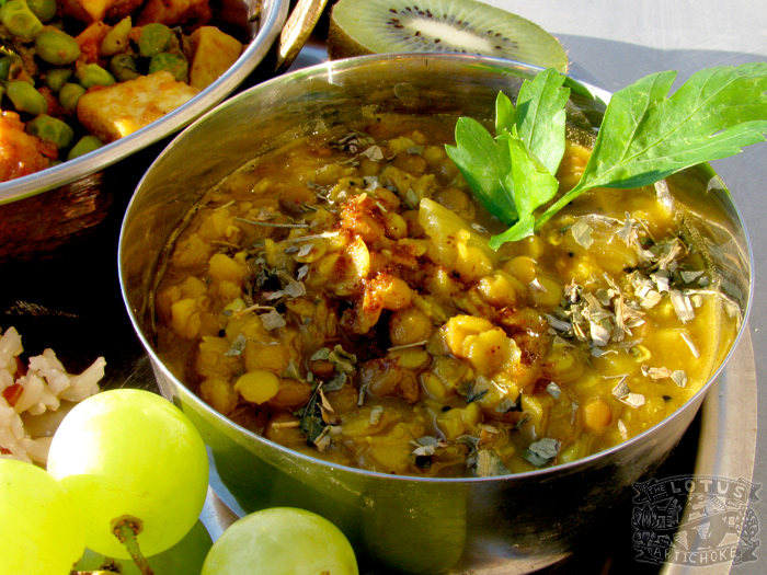 Masoor Dal - Indian Red Lentils recipe - The Lotus and the Artichoke vegan cookbook
