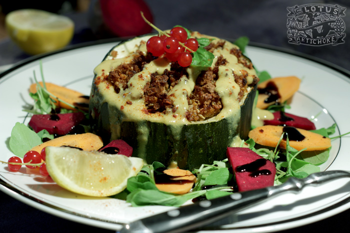 Vegan Moroccan Stuffed Squash Reloaded with Quinoa - The Lotus and the Artichoke