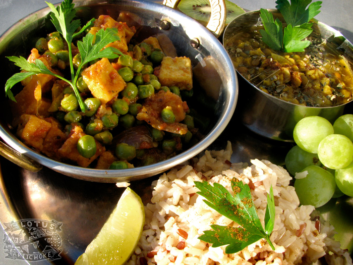 Mutter Paneer Tofu - North Indian - The Lotus and the Artichoke vegan cookbook