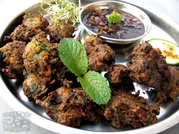 Veg Pakoras (Spinach & Carrot) with Apple Tamarind Chutney - The Lotus and the Artichoke - Vegan Cookbook