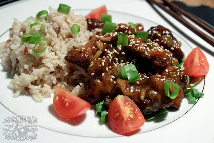 General Tso's Chicken - Vegan Chinese - The Lotus and the Artichoke cookbook of world travel recipes