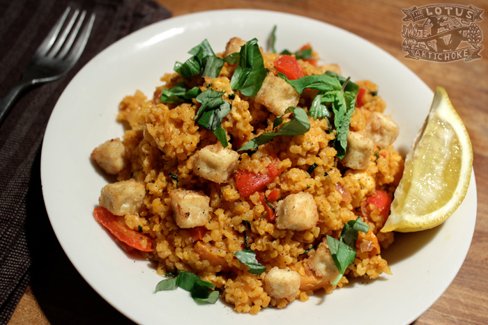 Turkish Bulgur Pilaf - The Lotus and the Artichoke - Vegan Recipes from World Adventures