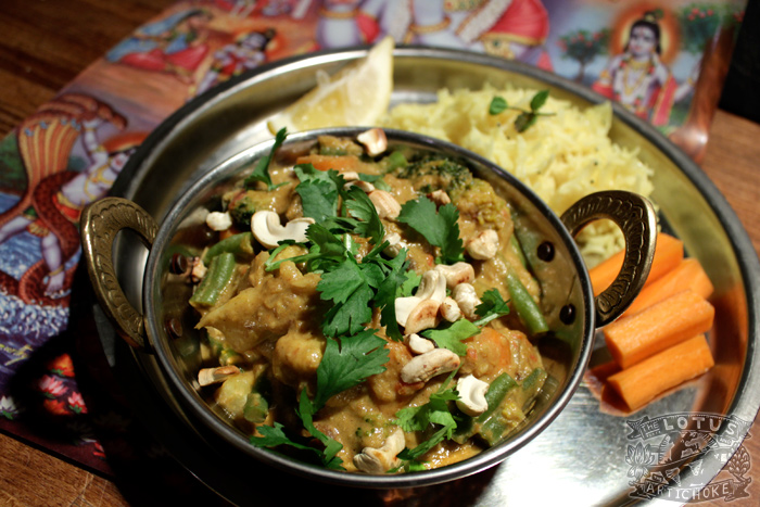 Navratan Vegetable Korma - North Indian - The Lotus and the Artichoke vegan cookbook