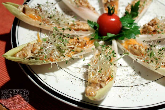 Endive Sprout Boats with Soy Sesame Dressing - The Lotus and the Artichoke - Vegan Cookbook