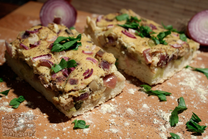 German Zwiebelkuchen with smoked tofu - The Lotus and the Artichoke - Vegan Recipes from World Adventures