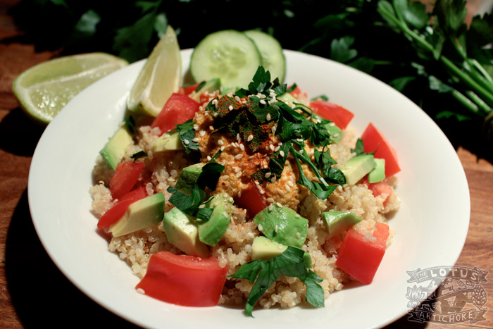 Quinoa Tomato Avocado Salad - Carrot Ginger Sesame Dressing - The Lotus and the Artichoke