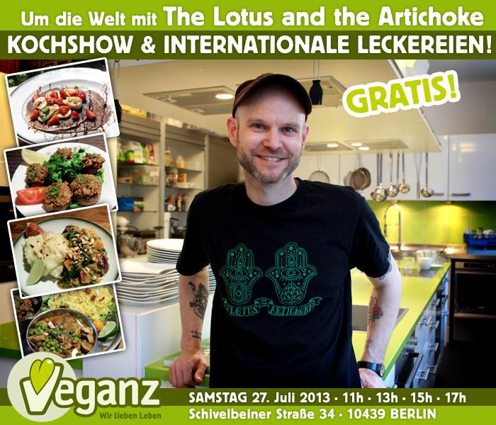 Um die Welt mit The Lotus and the Artichoke - Kochshow & Leckereien bei Veganz Berlin Prenzlauer Berg