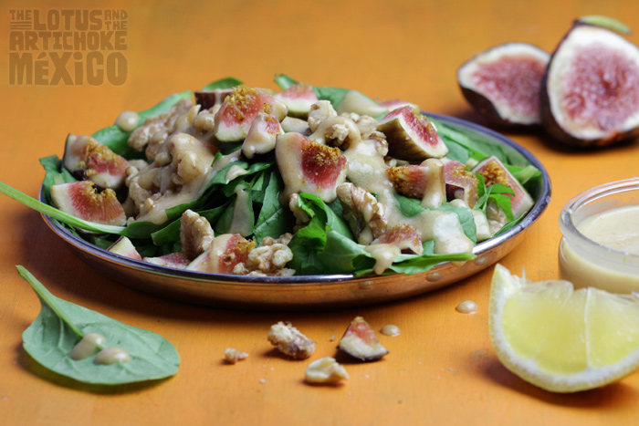 Fig Walnut Spinach Salad with Lemon Date Dressing - The Lotus and the Artichoke MEXICO Vegan Cookbook