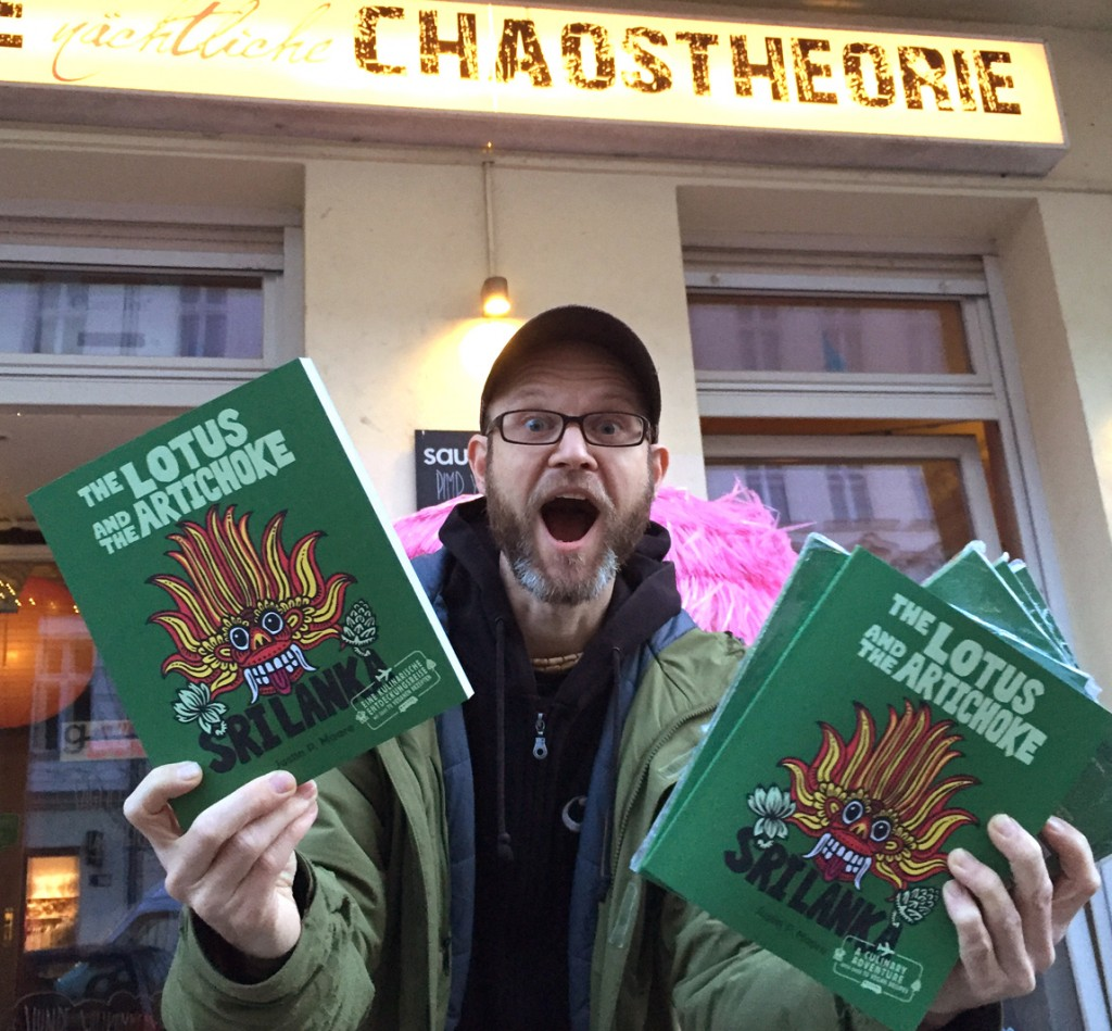 JPM and The Lotus and the Artichoke SRI LANKA vegan cookbook at Chaostheorie in Berlin