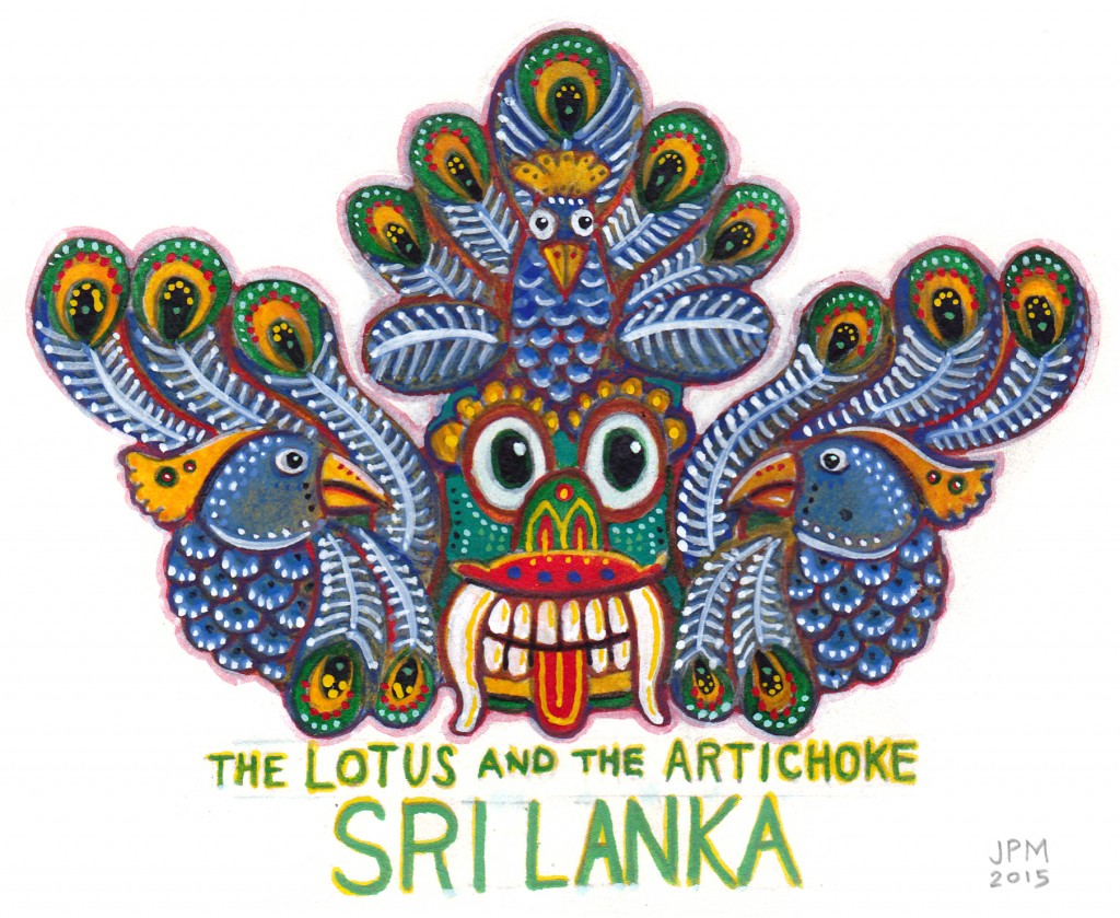 The Lotus and the Artichoke SRI LANKA Peacock miniature painting
