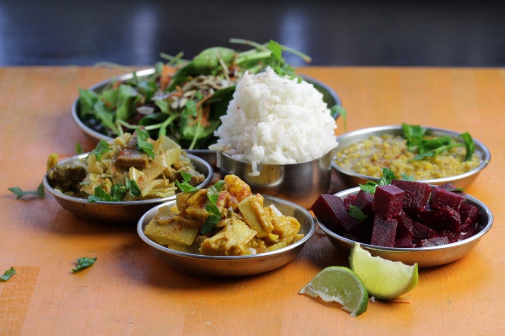 Sri Lankan Jackfruit Curry, Beet Curry, Leek Curry & Dal Curry