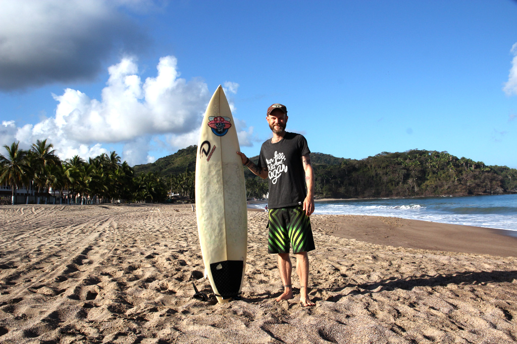 Justin P. Moore, Lo de Marcos, Mexico with Surfboard, Feb 2014