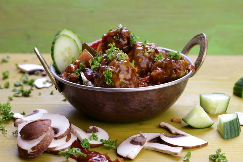 Mushroom Manchurian from The Lotus and the Artichoke MALAYSIA vegan cookbook