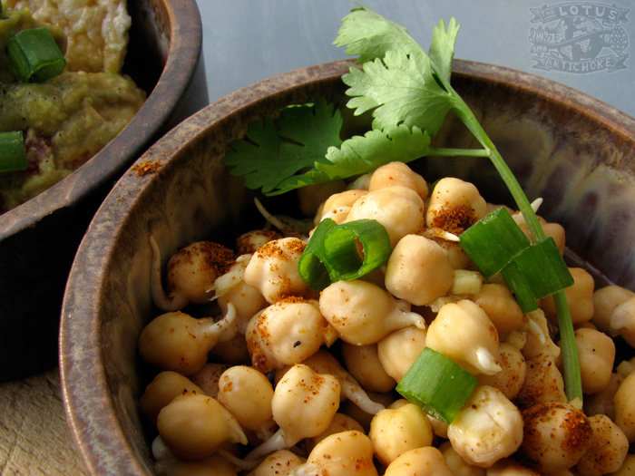 Raw: Ginger Lemon Chickpea Sprouts - The Lotus and the Artichoke