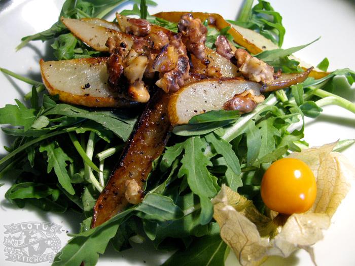 Arugula Pear Walnut Salad - The Lotus and the Artichoke