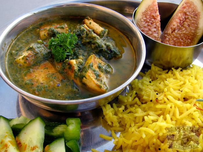 Palak Tofu Paneer - The Lotus and the Artichoke - Vegan Recipes from World Adventures
