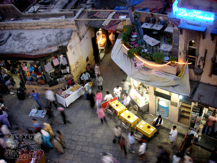 Fes, Morocco - Medina and Gate - The Lotus and the Artichoke - electric blue neon
