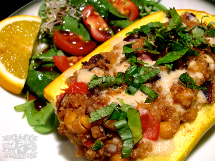 Moroccan Stuffed Squash - Couscous, dried apricots, herbs - vegan recipe from world travel