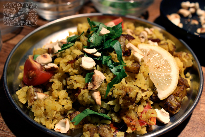 Poha - Indian Breakfast - The Lotus and the Artichoke - Vegan Recipes from World Travel Adventures