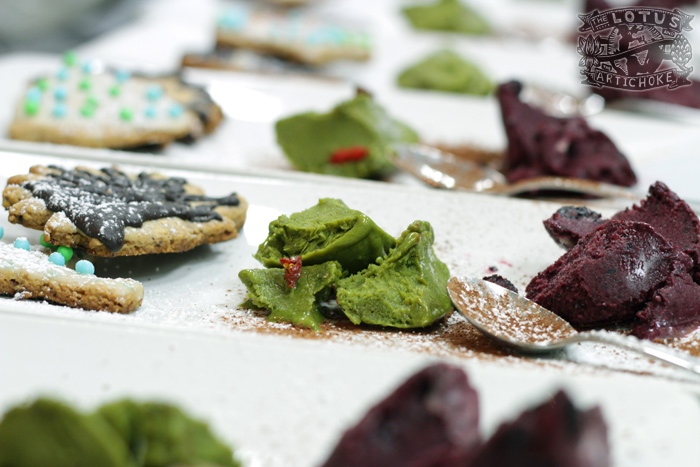 German Gingerbread Christmas Cookies with Matcha Sorbet and Blueberry Sorbet - The Lotus and the Artichoke