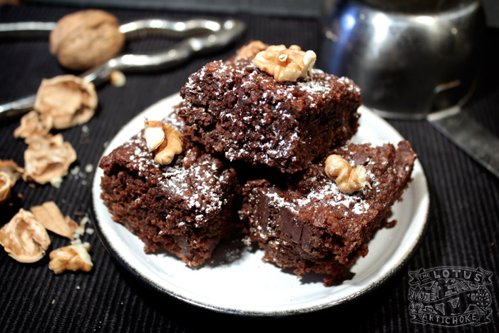 Roasted Walnut Brownies - Sweets - The Lotus and the Artichoke - World Travel Recipes
