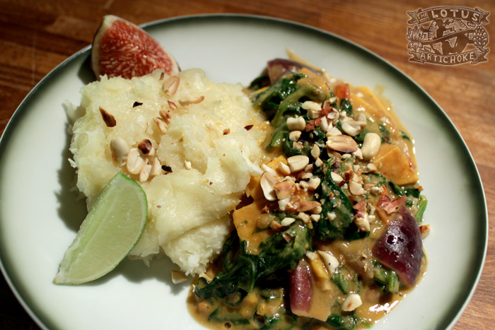 West African Spinach Peanut Stew with Fufu - The Lotus and the Artichoke vegan cookbook