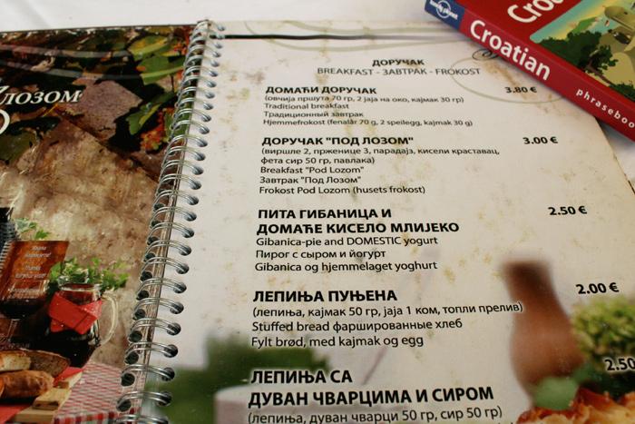Gibanica on the menu - Herceg Novi, Montenegro - The Lotus and the Artichoke