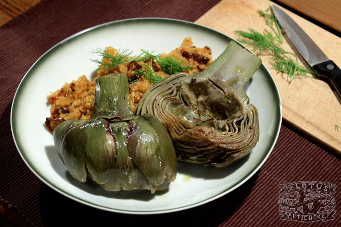 Lemon Garlic Artichokes - Italian - The Lotus and the Artichoke Vegan Cookbook