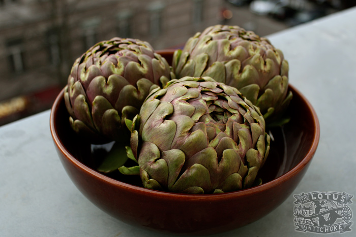 Globe Artichokes (Carciofi!) from Rome - The Lotus and the Artichoke - Vegan Recipes from World Adventures