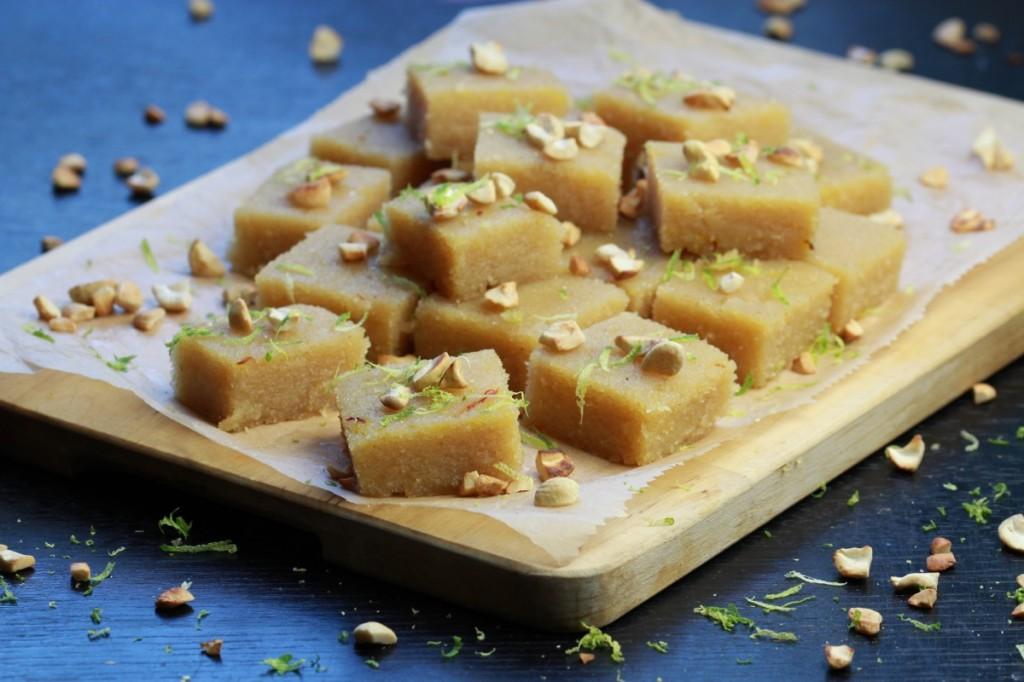 Sweet Semolina Squares (Kesari) from The Lotus and the Artichoke - SRI LANKA vegan cookbook