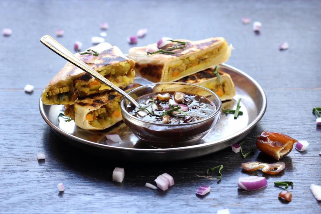 Sri Lankan Vegetable Roti with Tamarind Chutney